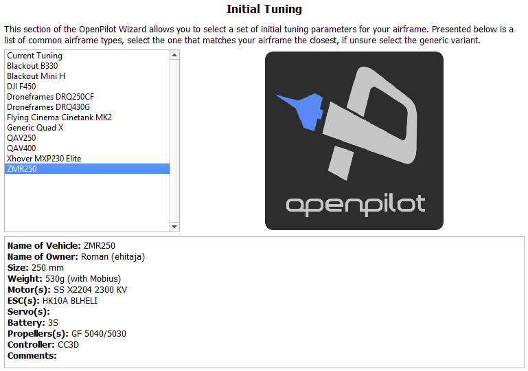 OpenPilot Initial Tuning Parameters