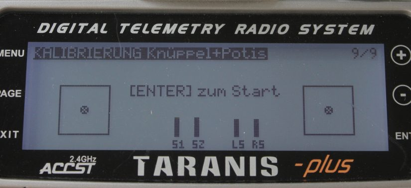 Taranis X9D plus – Knüppel und Potis kalibrieren